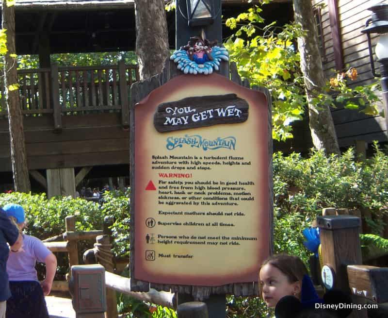 Splash Mountain Warning sign, Magic Kingdom - DisneyDining