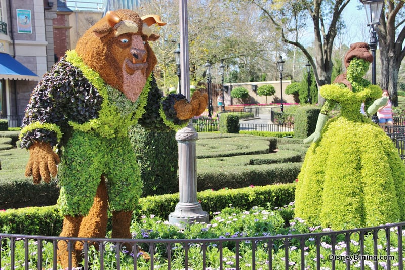 Beast and Belle Topiary France 2014 Epcot international flower