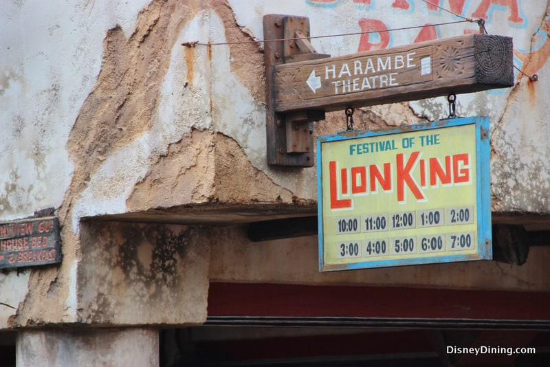Festival Of The Lion King Showtimes Sign Harmabe Africa Animal