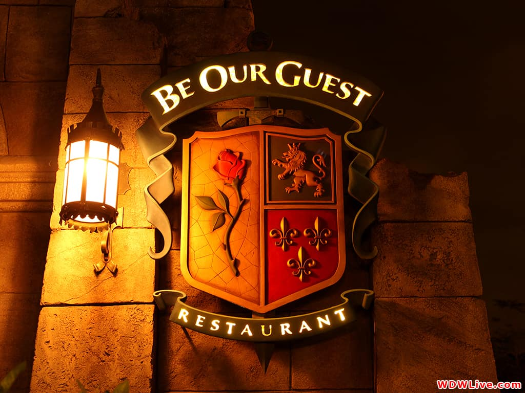 be our guest Be our guest restaurant is an expansive and elegant 550-seat dining destination located at the foot of beast's castle in fantasyland whether you are enjoying a quick-service breakfast or lunch, or the stately elegance of a table-service dinner, you can select from 1 of 3.
