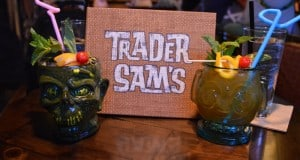 Polynesian Resort Trader Sams Drinks Hippopotomai-tai and Shrunken Zombie Head cocktails