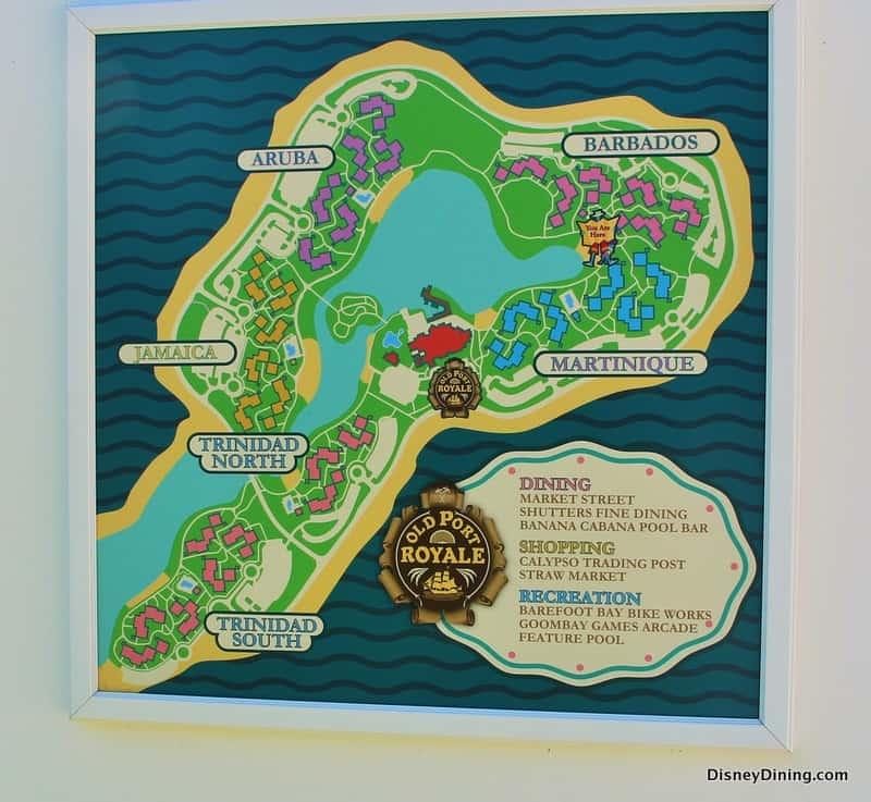 Map of caribbean beach resort in disney