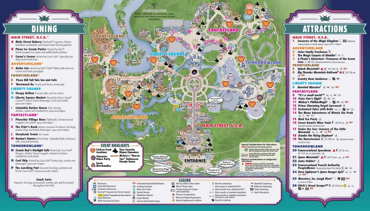 "Walt Disney World's Mickey's ""Not So Scary"" Halloween Guide Map ..."