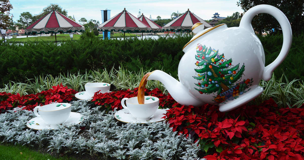 Epcot Uk Christmas Decorations Teapot Pouring Poinsettas Fb Crop
