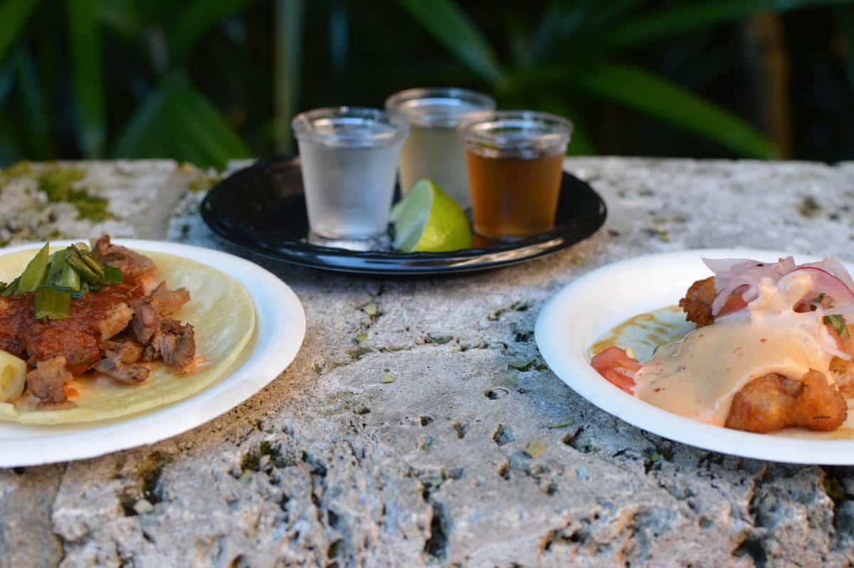 Epcot Food and Wine Festival Mexico Rib eye taco Shrimp Taco and Tequila Flight 2