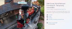 disney world railroad website page